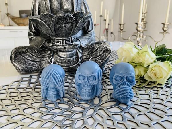 Totenkopf Skull 3er Set Kerze Duftkerze Sojakerze Handmade